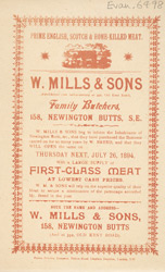Advert for W Mills, family butchers